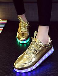 Da donna Da uomoTempo libero Casual Sportivo-Light Up Shoes-Piatto-Finta pelle-Argento Dorato