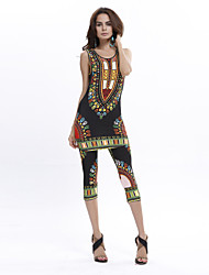 cheap -Women's Boho Round Neck Exotic Style Print Sleeveless Clothing Sets(Tank & Capri Tight Pants)