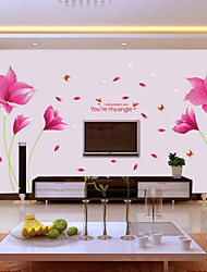 cheap -Wall Stickers Wall Decals Style Romantic Pink Orchid PVC Wall Stickers