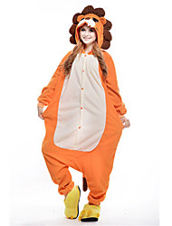 cheap -Kigurumi Pajamas Lion Onesie Pajamas Costume Polar Fleece Orange Cosplay For Adults' Animal Sleepwear Cartoon Halloween Festival / Holiday