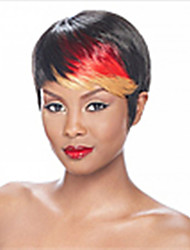 Donna Parrucche sintetiche Senza tappo Pantaloncini Lisci Arcobaleno Colorata parrucca nera Parrucca di Halloween Parrucca di carnevale