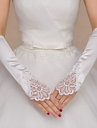 Elbow Length Fingerless Glove Satin Lace Bridal Gloves Party/ Evening Gloves Sequins Beading Embroidery