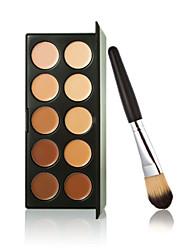Новый 10 цветов контура крем для лица макияж маскирующее палитра + порошок кисти