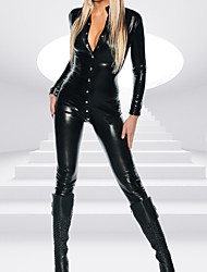 cheap -Lady Full Sleeve With Botton PVC Catsuit Jumpsuit