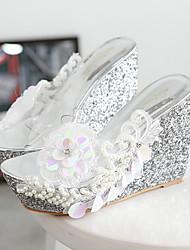 abordables -Mujer Silicona Verano Vestido Tacón Cuña Plataforma Blanco Plata Rosa 10 - 12 cms