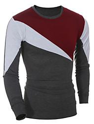 preiswerte -Herren T-shirt-Einfarbig Freizeit / Sport Baumwolle Lang-Rot / Grau