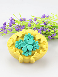 flor moldes de sabão em forma MoonCake molde bolo de chocolate fundido silicone, ferramentas de decoração bakeware