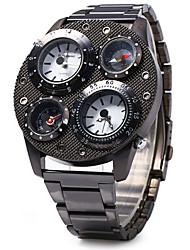 baratos -SHI WEI BAO Homens Quartzo Relógio Militar Termómetro Três Fusos Horários Bússula Aço Inoxidável Banda Luxo Legal Preta