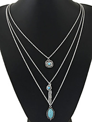 cheap -Geometric Shape Party Casual Multi Layer European Layered Necklace Resin Turquoise Alloy Layered Necklace