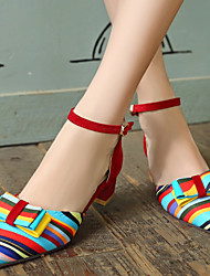 cheap -Women's Shoes Synthetics Spring / Summer Chunky Heel Bowknot / Split Joint Black / Red / Blue / Dress