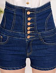 Da donna A vita alta Moda città Media elasticità Jeans Pantaloni Tinta unita