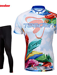 cheap -TASDAN Men's Short Sleeves Cycling Jersey with Tights - Black Bike Tights Jersey Pants / Trousers Clothing Suits, 3D Pad, Quick Dry,