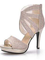 Women's Shoes Customized Materials Stiletto Heel Peep Toe / Platform Sandals Wedding / Party & Evening / Silver / Gold