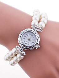 abordables -Femme Bracelet de Montre Montre Tendance Quartz Grosses soldes Plastique Bande A Perles Elégant Blanc Bleu Rouge Rose