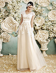 cheap -A-Line V Neck Floor Length Satin / Lace Over Tulle Made-To-Measure Wedding Dresses with Appliques by LAN TING BRIDE®