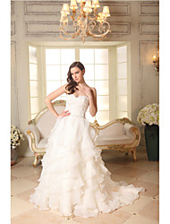 cheap -A-Line Sweetheart Court Train Organza Satin Custom Wedding Dresses with Beading Appliques Ruffle by LAN TING BRIDE®