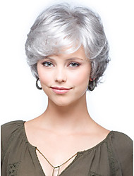 cheap -Synthetic Wig Curly With Bangs Synthetic Hair Side Part / With Bangs Gray Wig Women's Short Capless
