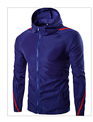 cheap -Men's Active Slim Jacket-Solid Colored Hooded
