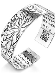 cheap -Women's Bracelet Sterling Silver Plated Sample Buddhism Letters Cuff Bracelet Wedding Bride