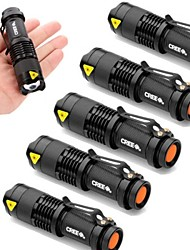 UltraFire 6pcs Lot Mini 2000lm Cree Q5 LED 3 Mode Adjustable Zoom Focus Impact Resistant Flashlight Torch Lamp AA Flashlight Torch Light