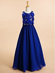 A-Line Floor Length Flower Girl Dress - Chiffon Sleeveless Scoop Neck with Beading by LAN TING BRIDE®