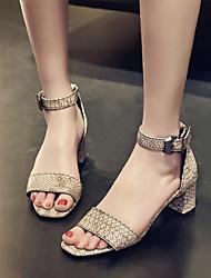 お買い得  -女性用 女の子 靴 レザーレット 春 秋 チャンキーヒール ブロックヒール ベックル のために パーティー ドレスシューズ ブラック ベージュ イエロー