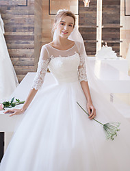 cheap -Ball Gown Illusion Neckline Floor Length Lace Tulle Wedding Dress with Appliques Sash / Ribbon by