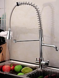 Contemporary  Double Handle Chrome Finish Pull-Out  Spray   3 way Kitchen Faucets with Pure Water Flow Filter Tap