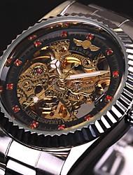 levne -WINNER Pánské mechanické hodinky Náramkové hodinky Automatické natahování S dutým gravírováním Nerez Kapela Luxus Stříbro