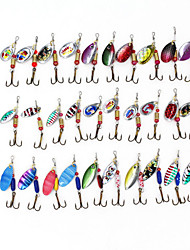 cheap -Spinner Baits 30pcs 3-3.5g Fishing Lures Metal Bait Brass Spinner Rotate Sequins bait Hard Bait Lure kits Brass material