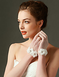 cheap -Nylon Elastic Satin Wrist Length Glove Bridal Gloves Party/ Evening Gloves With Floral