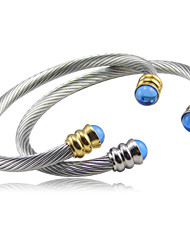cheap -Blue Gem Clasp Stainless Steel Cable Cuff Bangle Christmas Gifts
