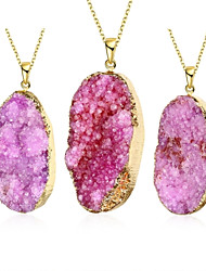 cheap -MISSING U Women's Irregular Natural Pure Crystal Agate Stone 18K Gold Plated Pendant Necklace One Piece Jewelry
