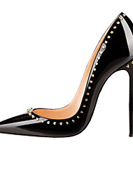 cheap -Women's Shoes Patent Leather Leatherette Spring Summer Basic Pump Stiletto Heel Pointed Toe Beading Rivet for Wedding Casual Party &