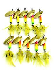 """preiswerte -10pcs Stück Angelköder Buzzbait & Spinnerbait Köder Löffel g / Unze, 55mm mm / 2-1/4"""" Zoll, Feder Metal Seefischerei Fischen im Süßwasser"""
