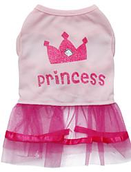 baratos -Gato Cachorro Vestidos Roupas para Cães Tiaras e Coroas Rosa claro Algodão Ocasiões Especiais Para animais de estimação Mulheres Fashion