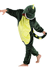 cheap -Kigurumi Pajamas Dinosaur Onesie Pajamas Costume Flannel Toison Green Cosplay For Children's Animal Sleepwear Cartoon Halloween Festival