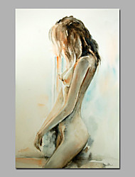 cheap -Hand-Painted People Vertical, Modern Style Canvas Oil Painting Home Decoration One Panel