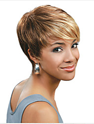 cheap -Synthetic Wig Straight Pixie Cut With Bangs Highlighted/Balayage Hair Multi-color Blonde Women's Capless Carnival Wig Halloween Wig
