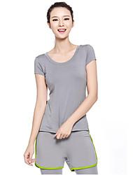 Dame T-shirt og bukser til løb og jogging Kortærmet Hurtigtørrende Åndbart Komprimering letvægtsmateriale Tøjsæt for Yoga Træning &