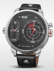 WEIDE Pánské Náramkové hodinky Křemenný Japonské Quartz Hodinky s dvojitým časem Kůže Kapela Černá Bílá Černá