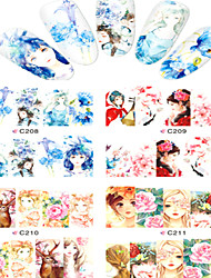 8pcs  Nail Art Water Transfer Stickers Beautiful Girl And Beautiful Flower Image Fashion C208-211