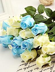 Недорогие -1 ветка многоцветный шелк пу роз настольный цветок искусственные цветы