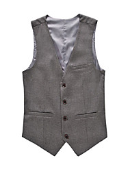 cheap -Men's Formal Business Simple All Seasons Regular Vest, Solid V Neck Cotton Polyester