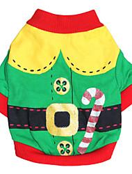 Недорогие -Кошка Собака Костюмы Футболка Одежда для собак Красный Зеленый Хлопок Костюм Для домашних животных Муж. Жен. Косплей Мода Хэллоуин