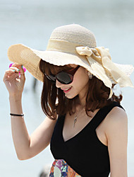 Women Wide Brim Straw Sun Hat , Casual Summer