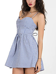 Women's Fine Stripe|Lace up|Backless Party Sexy / Punk & Gothic Sheath Dress,Striped Strap Mini Sleeveless Blue / Black Rayon All Seasons