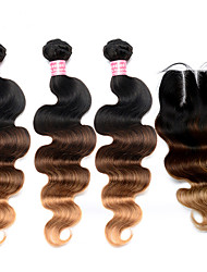 cheap -Ombre Brazilian Hair With Closure 4 Pcs/Lot Ombre Hair Bundles With Lace Closures Body Wave Colored 1B/4/27
