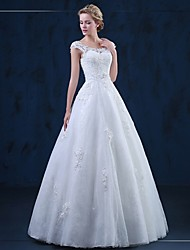 cheap -A-Line Scoop Neck Floor Length Tulle Wedding Dress with Appliques by LAN TING BRIDE®