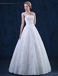 Linea-A Lungo Tulle Vestito da sposa con Con applique di HQY